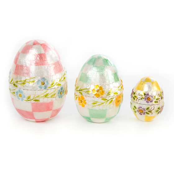 Pastel Floral Nesting Eggs - Set of 3 image three