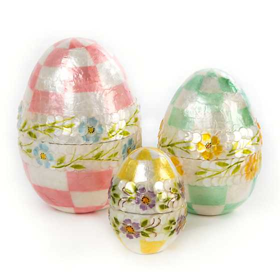 Pastel Floral Nesting Eggs - Set of 3
