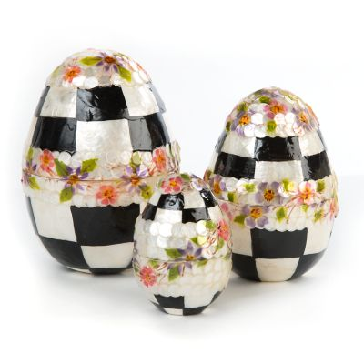 Black & White Floral Nesting Eggs - Set of 3