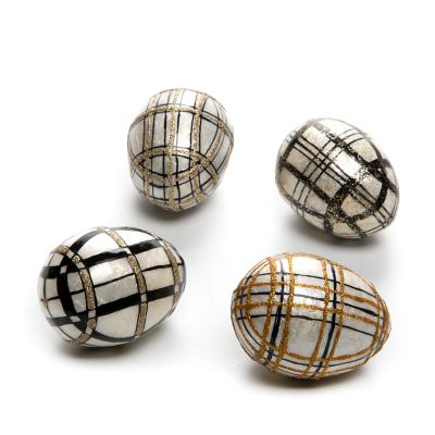 Mod Plaid Capiz Eggs - Set of 4