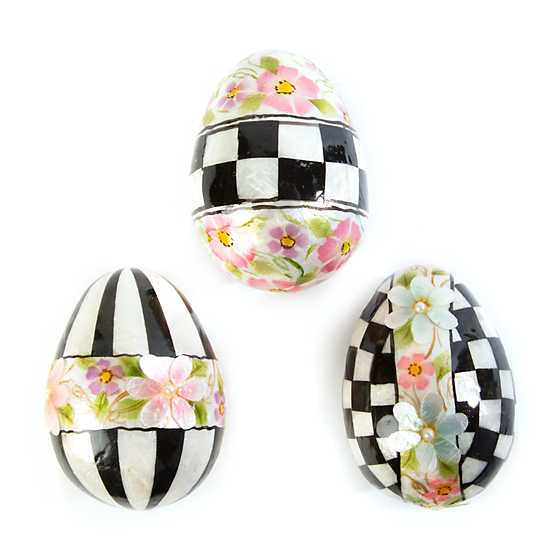 Painted Posie Eggs - Large - Set of 3 image three