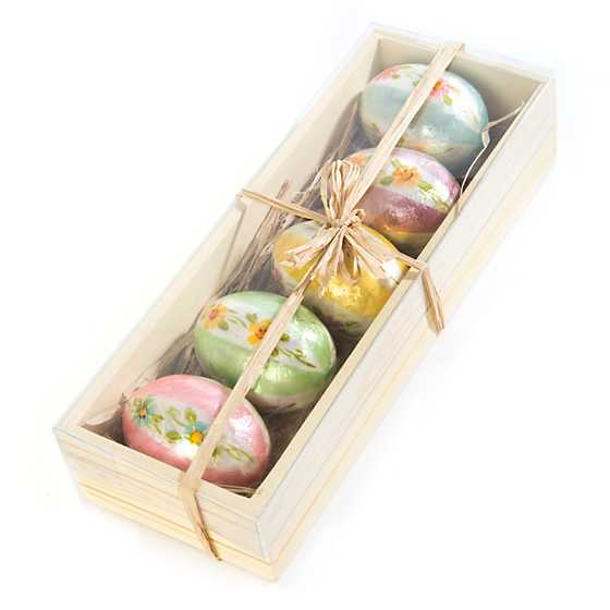 Honeymoon Stripe Egg Ornaments - Set of 5