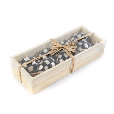Black & White Check Egg Ornaments - Set of 7
