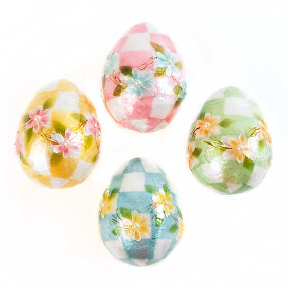 Honeymoon Check Egg Ornaments - Set of 4 image three