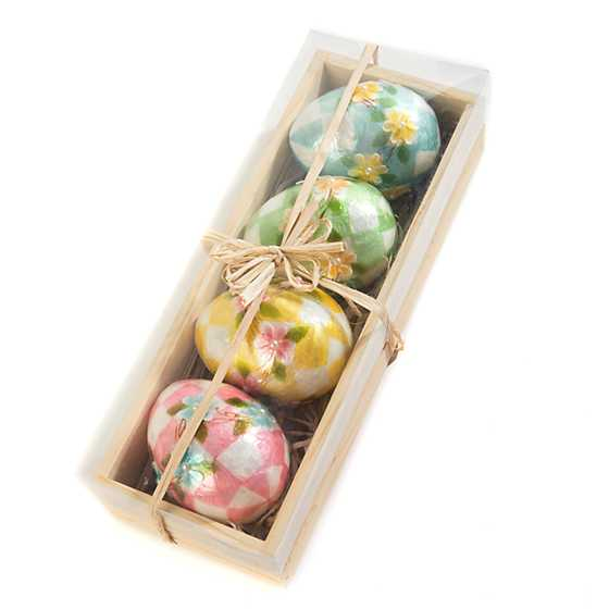 Honeymoon Check Egg Ornaments - Set of 4