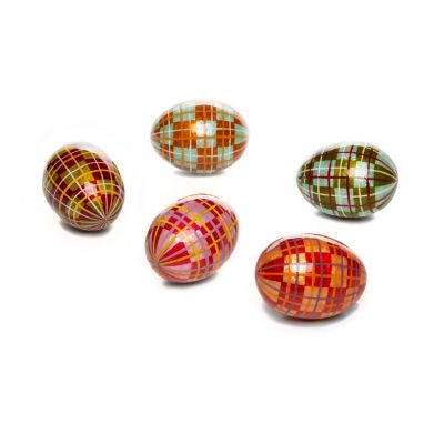 Highland Tartan Capiz Eggs - Set of 5