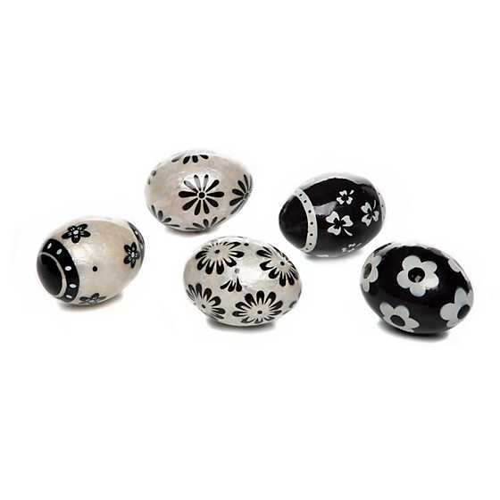 Black & White Floral Capiz Eggs - Set of 5 image one