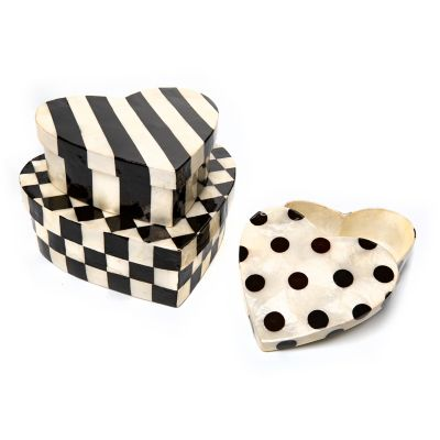 Black & White Nesting Heart Boxes - Set of 3