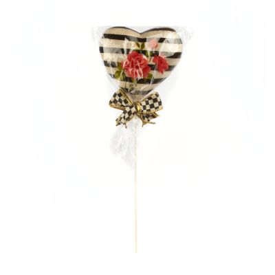 Heart Lollipop Pick - Red Rose