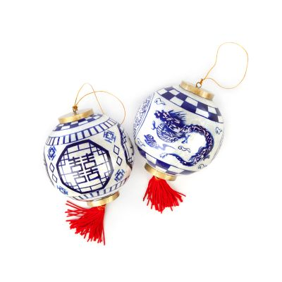 Midnight Capiz Globe Ornaments - Set of 2