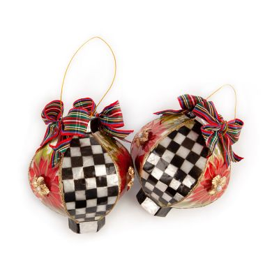 Poinsettia Capiz Lantern Ornaments - Set of 2