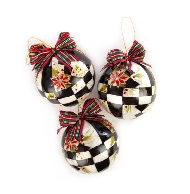 Courtly Poinsettia Capiz Ball Ornaments - Set of 3