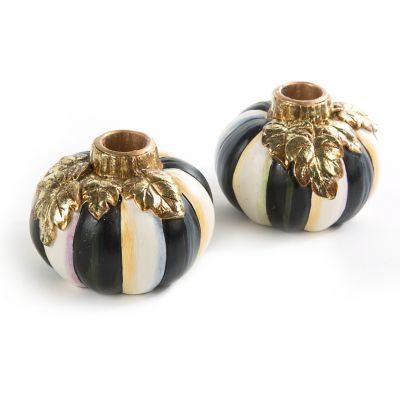 Courtly Stripe Pumpkin Candlesticks - Set of 2
