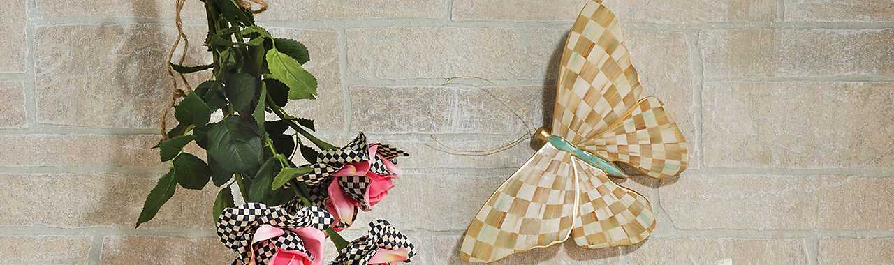Parchment Check Butterfly Banner Image