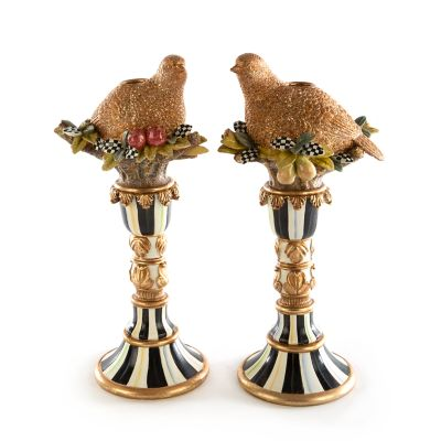 Autumn Naturals Quail Candle Holders - Set of 2