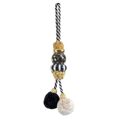 Black Tie Pom Pom Tassel - Small