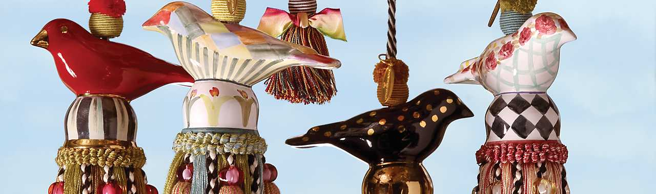 Ceramic Bird Tassel - Rose Banner Image