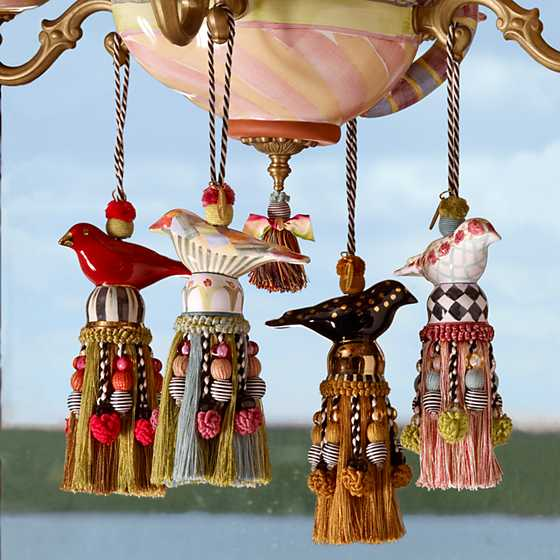 Ceramic Bird Tassel - Red & Gold image three