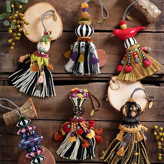 Ceramic Bird Tassel - Red & Gold image six