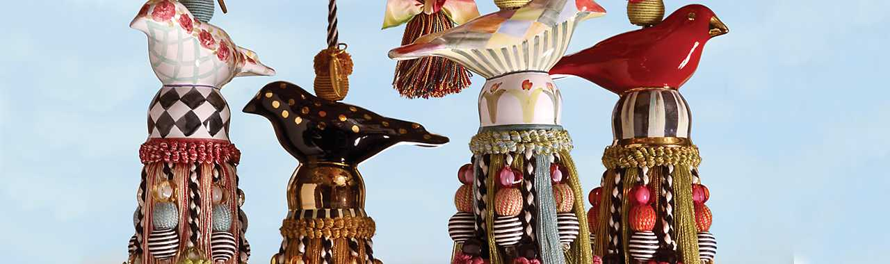 Ceramic Bird Tassel - Red & Gold Banner Image