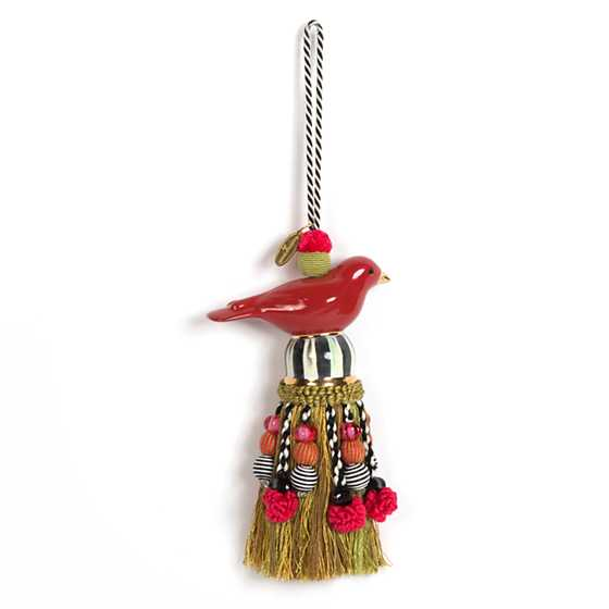 Ceramic Bird Tassel - Red & Gold
