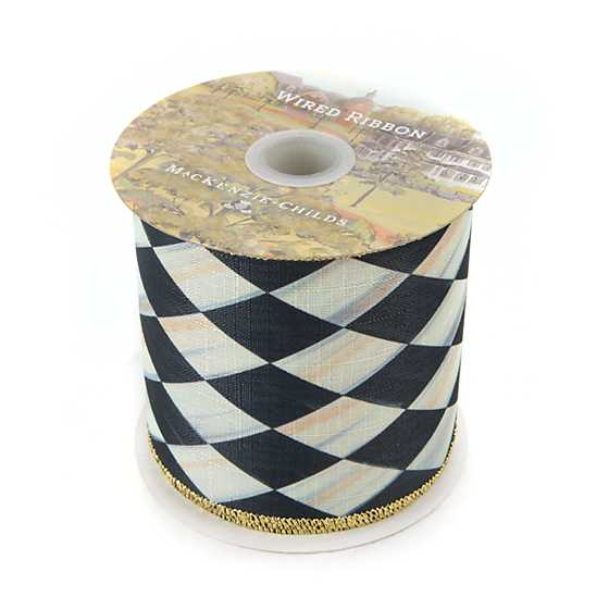 "Courtly Harlequin 4"" Ribbon - Gold Back image two"