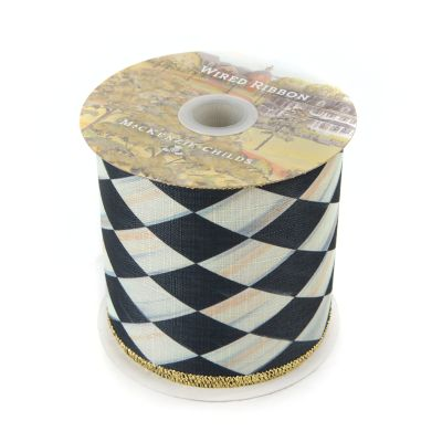 "Courtly Harlequin 4"" Ribbon - Gold Back"