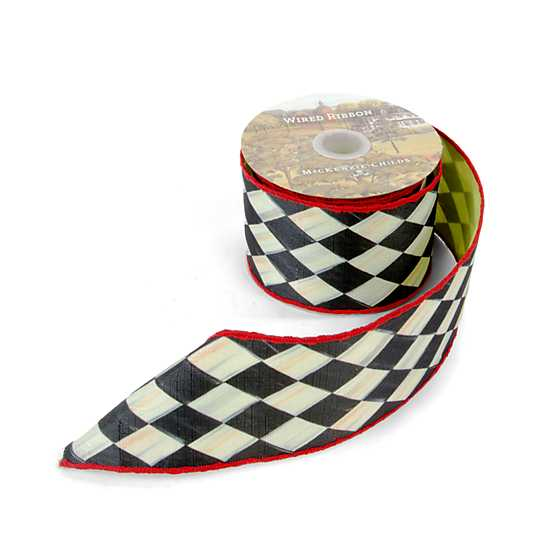 "Courtly Harlequin 3"" Ribbon - Chartreuse Back image three"