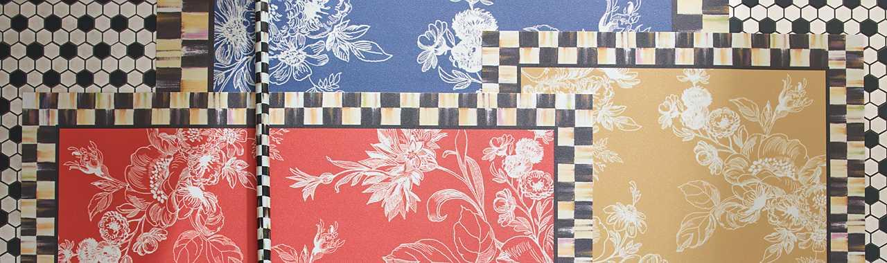 Mackenzie Childs Wild Rose Floor Mat 3 X 5 Wheat
