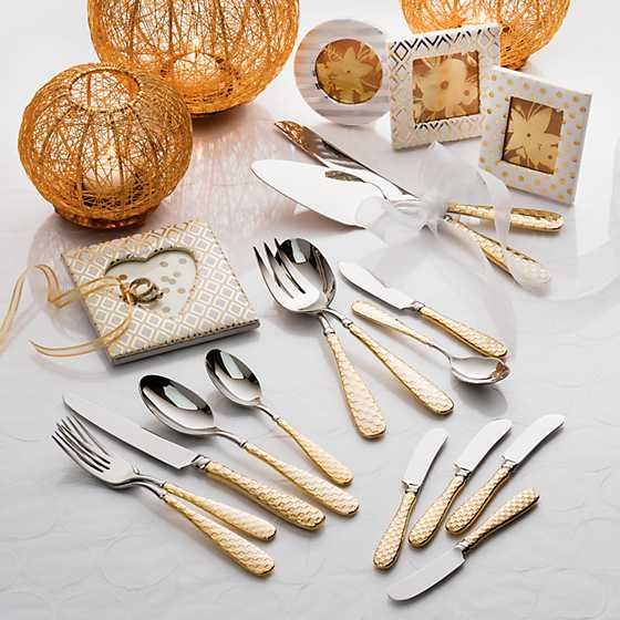 Gold Check Flatware - 5-Piece Place Setting