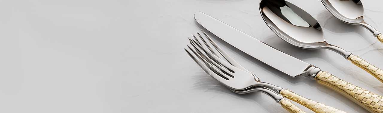 Gold Check Flatware - 5-Piece Place Setting Banner Image