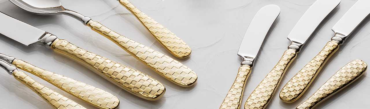 Gold Check Canape Knives - Set of 4 Banner Image