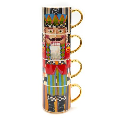 Holiday Nutcracker Mug Tower - Set of 4