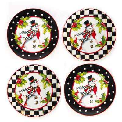 Top Hat Snowman Plates - Set of 4