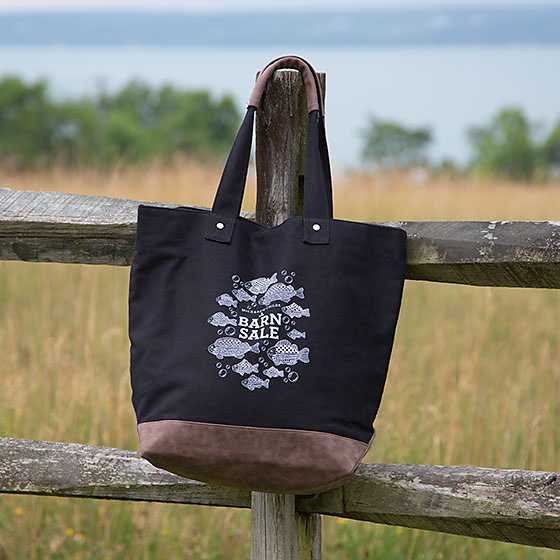 Barn Sale Canvas Tote Bag - Black image two
