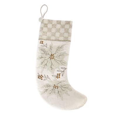 White Poinsettia Stocking
