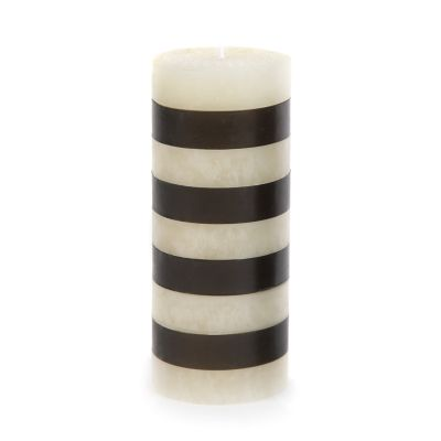 "Bands Pillar Candle - 6"" - Black & Ivory"