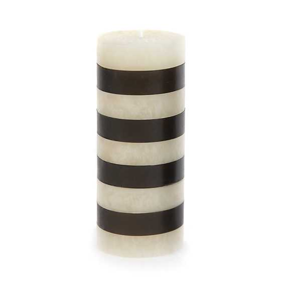 "Bands Pillar Candle - 6"" - Black & White image one"