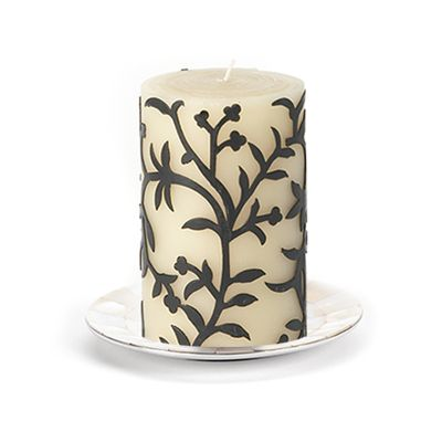 "Vine Pillar Candle - 4"" - Black"