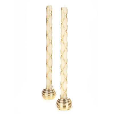 Fishnet Dinner Candles - Gold - Set of 2