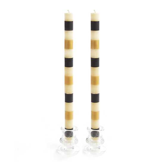 Multi Bands Dinner Candles -Black & Gold -Set of 2 image one