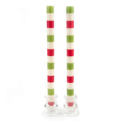 Multi Bands Dinner Candles - Red & Green - Set of 2