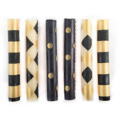 Mini Dinner Candles - Black & Gold - Set of 6