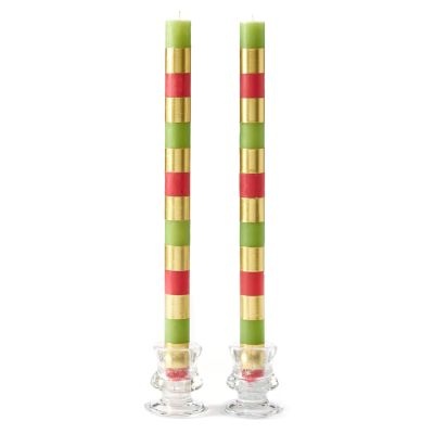 Multi Bands Dinner Candles - Red/Gold/Green - Set of 2