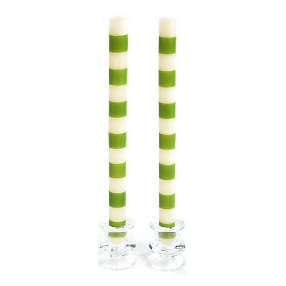 Bands Dinner Candles - Green - Set of 2