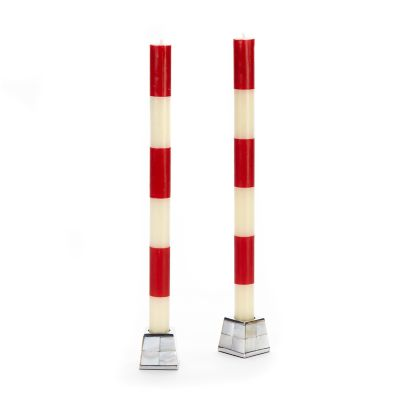 Six Bands Dinner Candles - Red - Set of 2