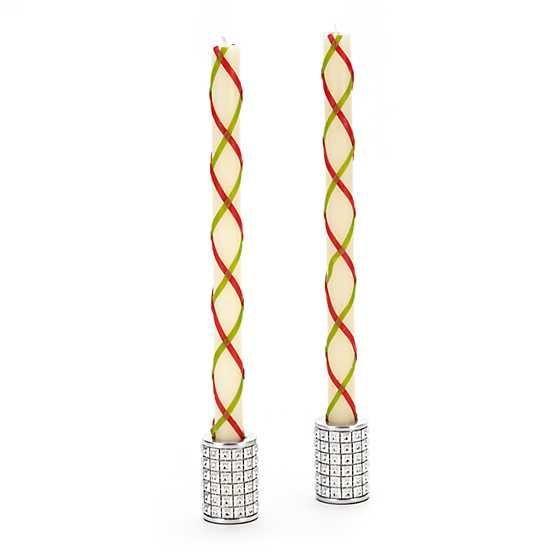 Fishnet Dinner Candles - Red & Green - Set of 2 image two