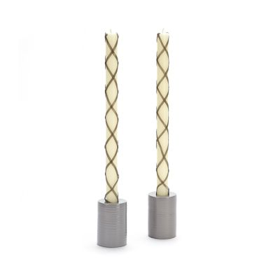 Fishnet Dinner Candles - Grey - Set of 2