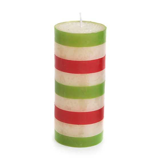 "Bands Pillar Candle - 6"" - Red & Green"