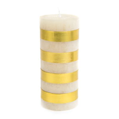 "Bands Pillar Candle - 6"" - Gold & White"